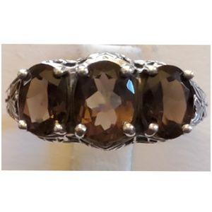 4ct Smokey Topaz 3-Gem Filigree Ring Size 7